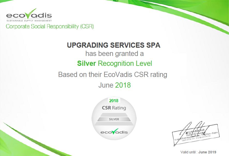 Responsabilità sociale d'impresa: riconoscimento per Upgrading Services